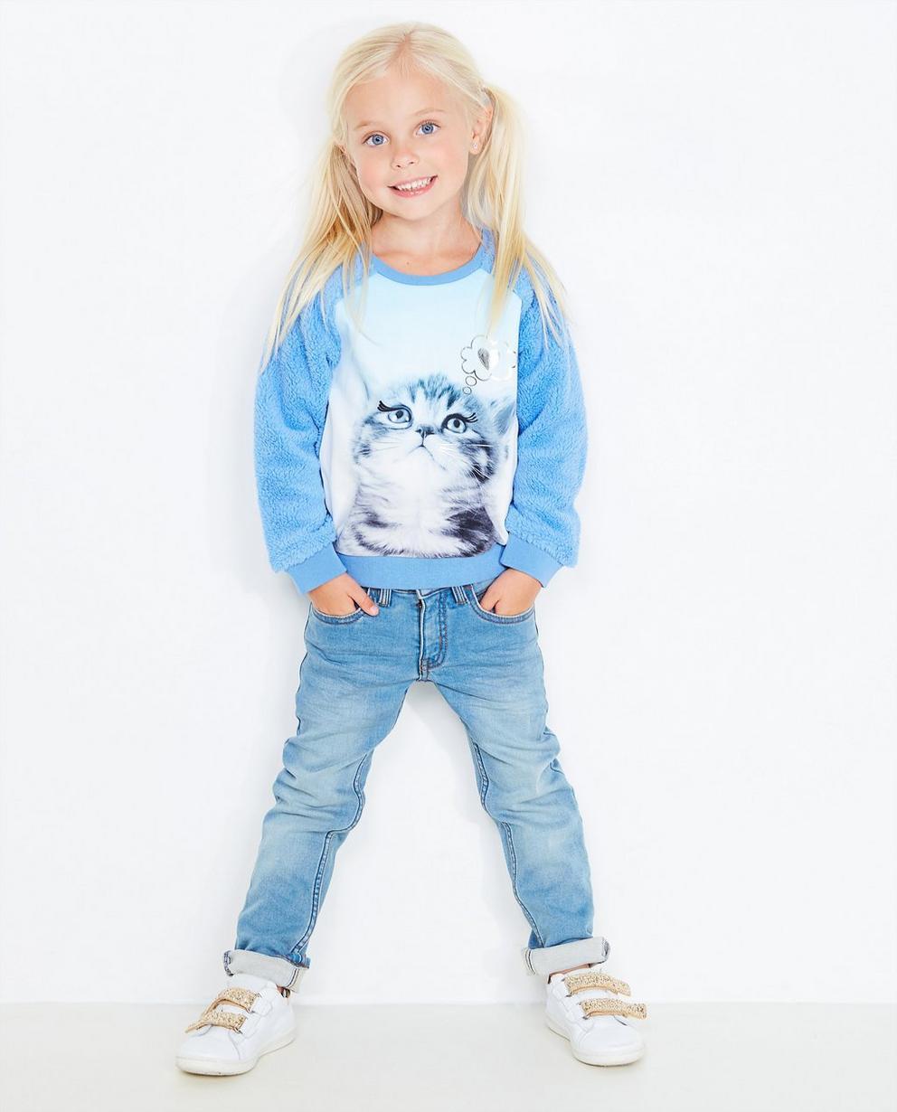 Blaues Sweatshirt - mit Katzenprint - JBC